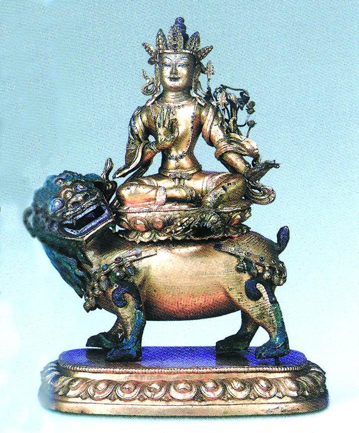 镀金 文殊菩萨/此像铜质鎏金,年代为18世纪初。